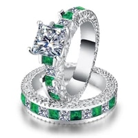 hot sale double green blue square cz ring rhodium wedding bands aaa zircon jewelry women accessories wedding ring