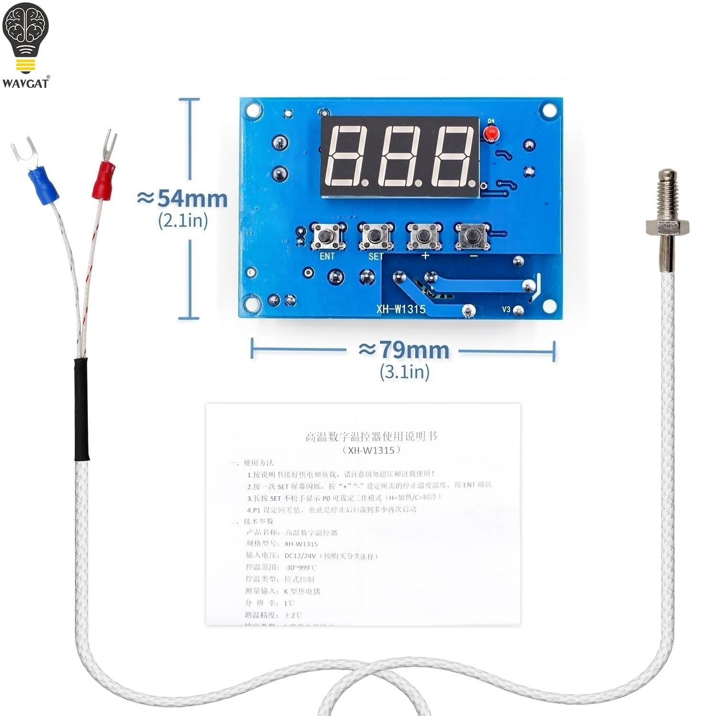 Controlador de temperatura tipo K termopar XH-W1315 de alta temperatura-Placa de control de temperatura de 30-999 grados