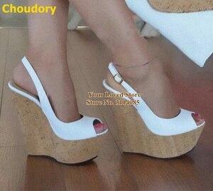 Choudory Wooden Wedges Platform Dress Shoes White Black Slingback Open Toe Gladiator Pumps Nightclub Women Stage Footwear Size46