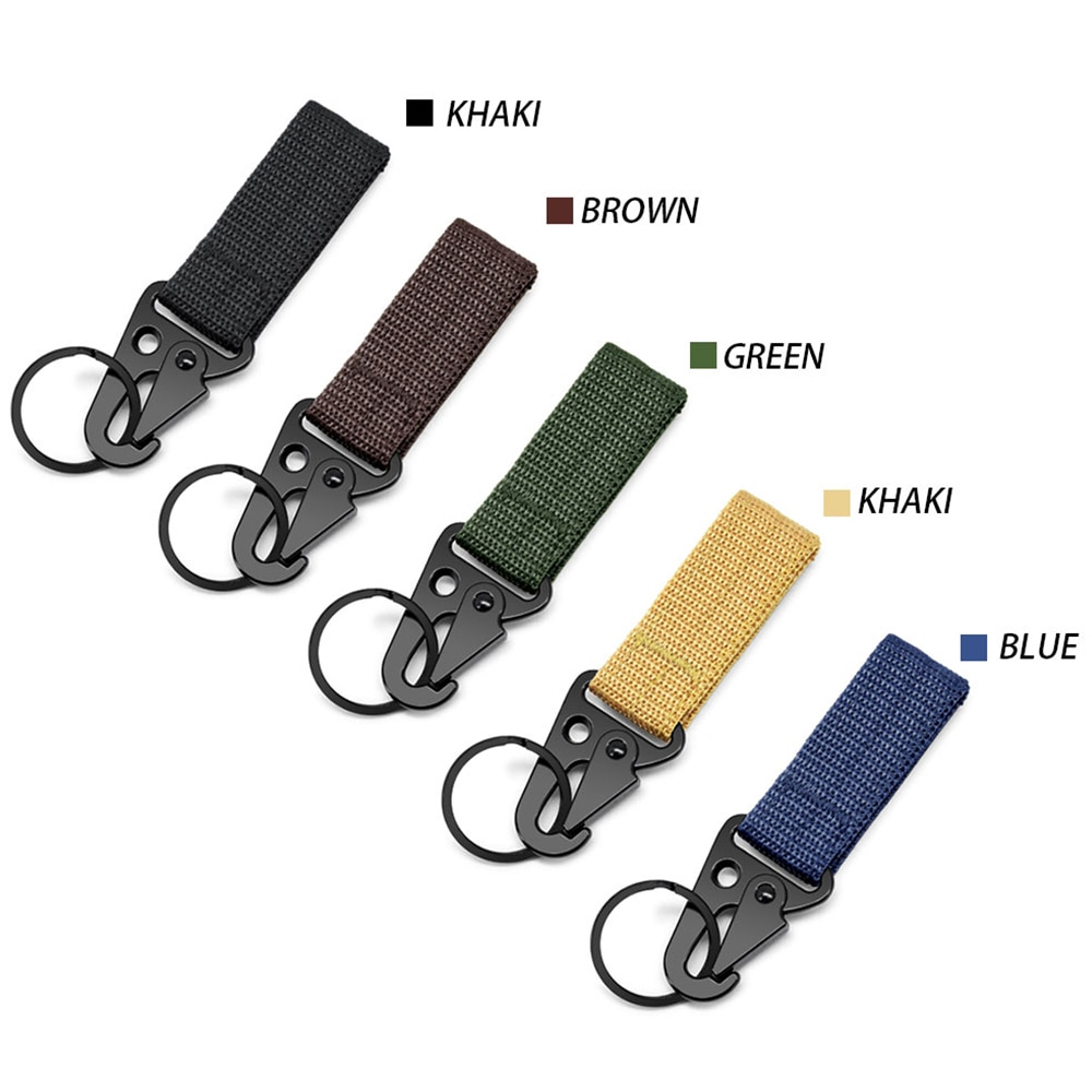 DOOPAI Men's Belt Multi-Function Outdoor Tactical Nylon Webbing Belt Key Hang Buckle, Mountaineering Portable Eagle Hook Hook