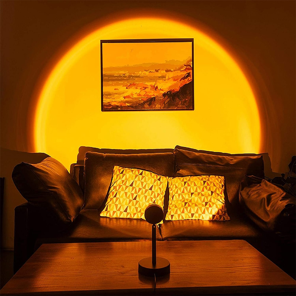 Sunset Projection Aesthetic Lamp USB Led Night Light Wall Lamp Photography Background for Home Living Room Bedroom Decoration enlarge