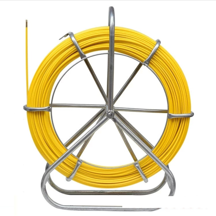 Duct Rodder Fish Tape Continuous Fiberglass Wire Cable Running with Cage and Wheel Stand 6*50m/6*100m