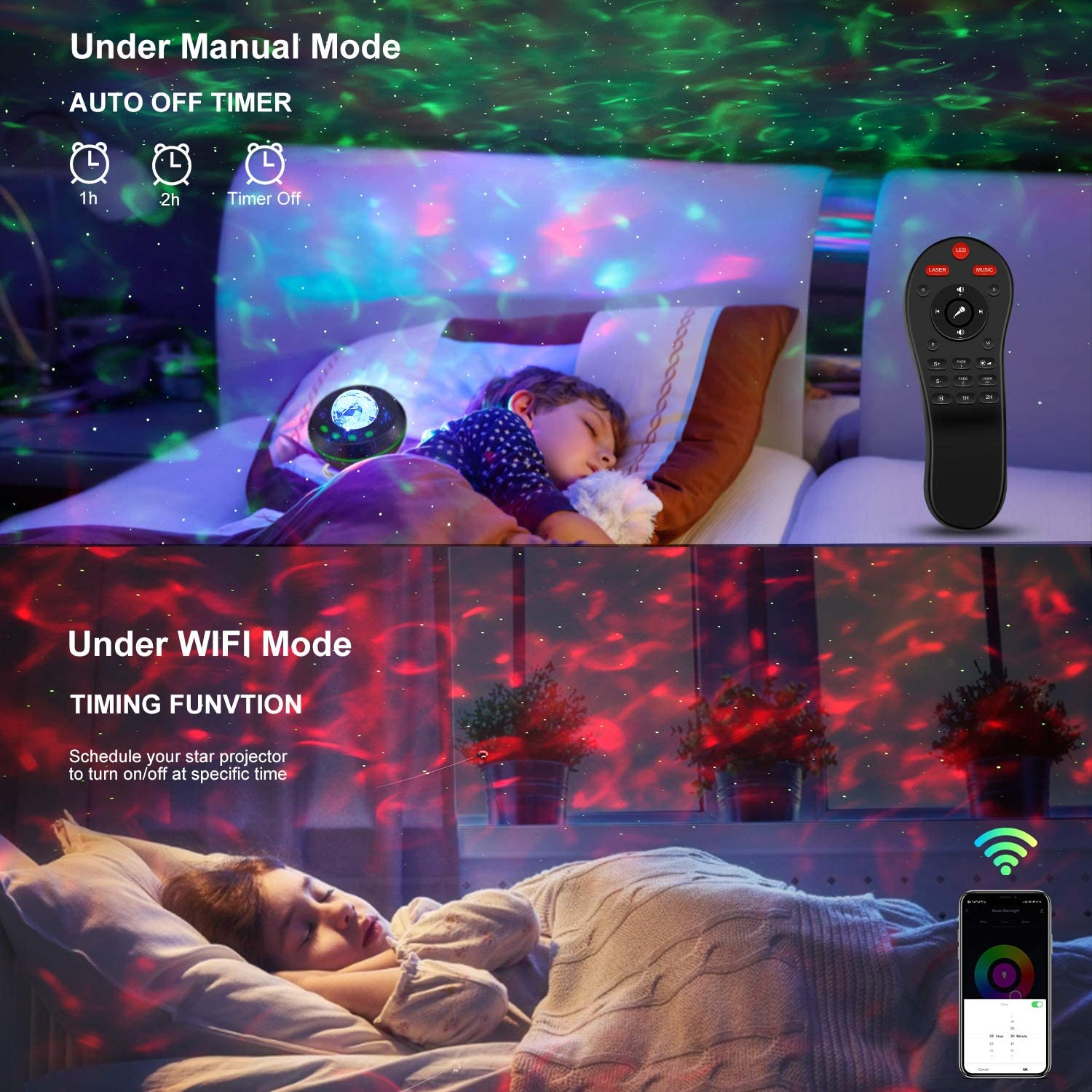 Star Projector Ocean Wave Night Light Projector with Bluetooth Speaker Smart Voice Control Bedroom Home Theatre Baby Kids Adults enlarge