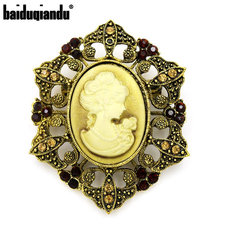 Baiduqiandu marca vintage estilo cristal cameo broches para mulher