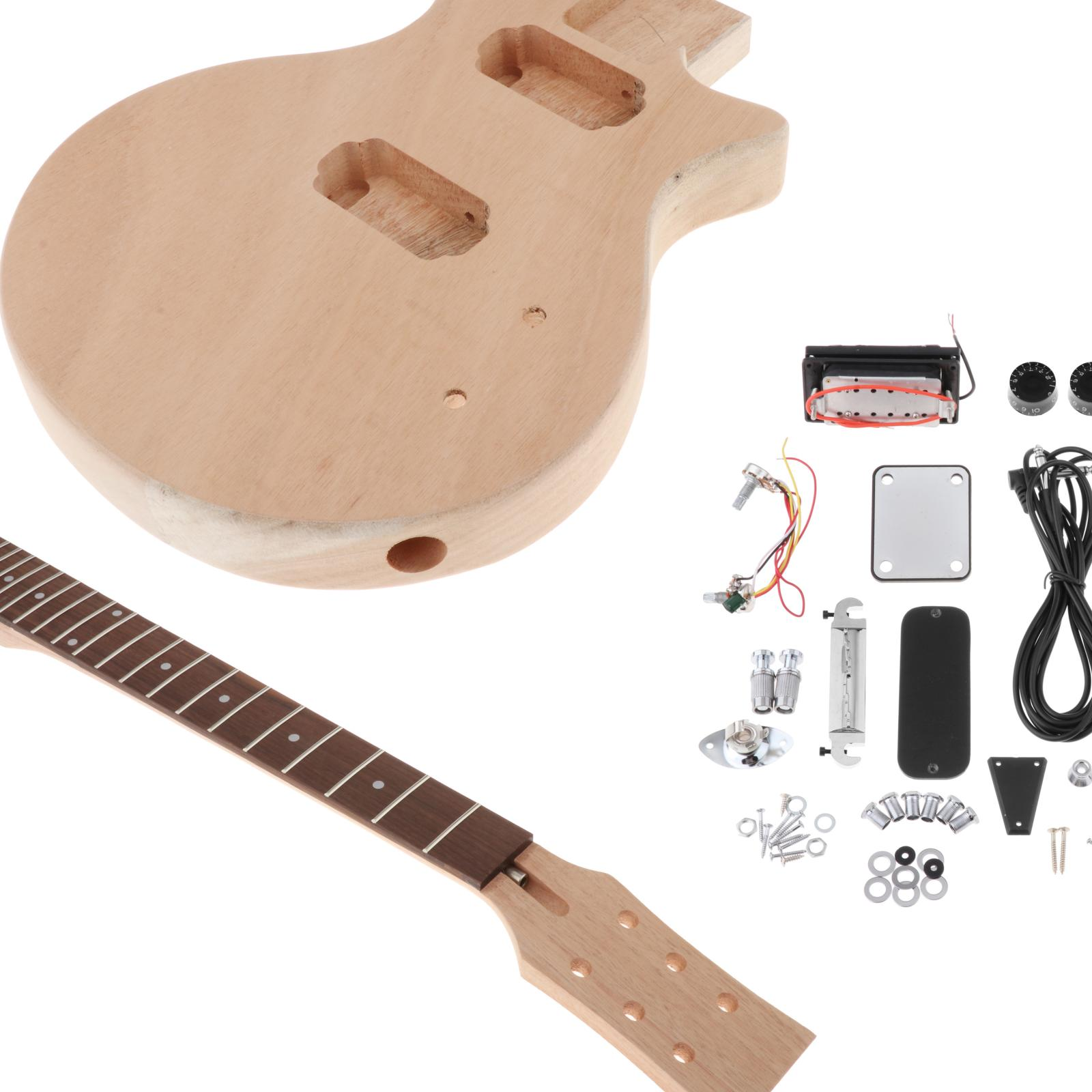 Unfinished DIY Electric Guitar Kit Mahogany Body & Rosewood Fingerboard Guitar Neck for Guitar Luthier Music Lovers enlarge