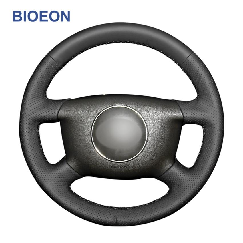 Capa para volante de carro em couro artificial, ponto de mão, preto, pu, para audi a2 (8z) a3 (8l) sprotback a4 (b5 b6) vingador a6 (c5) a8