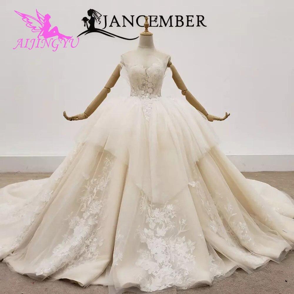 AIJINGYU-فساتين زفاف إسلامية ، مصنوعة في تركيا ، أفضل فساتين زفاف شتوية عتيقة ، مع فرشاة وردية ، جميلة