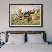 Peinture classique retro operations de vol davion de guerre T061  affiche en soie personnalisee  decoration murale  cadeau de noel  72