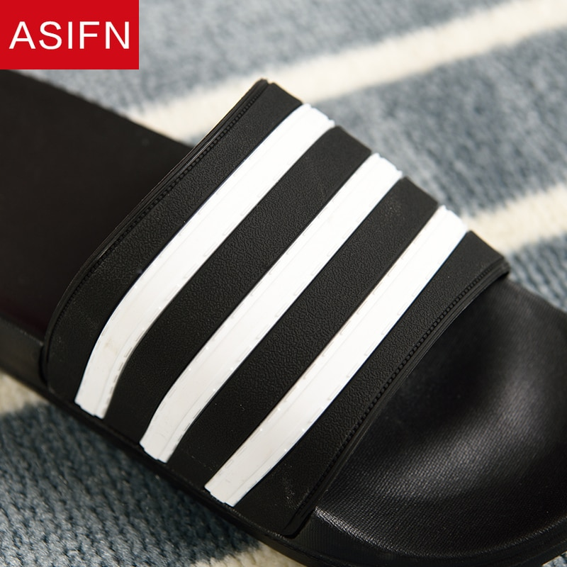 ASIFN chaussons pour hommes EVA hommes Chaussures femmes Couple tongs doux noir blanc rayures décontracté été mâle Chaussures Femme diapositives