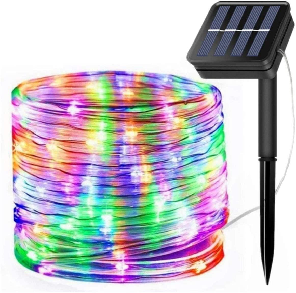 Solar Power String Lights LED Rope Lights 12M 100LEDs 8 Modes Tube Light Waterproof Fairy Light For Garden Christmas Party Decor
