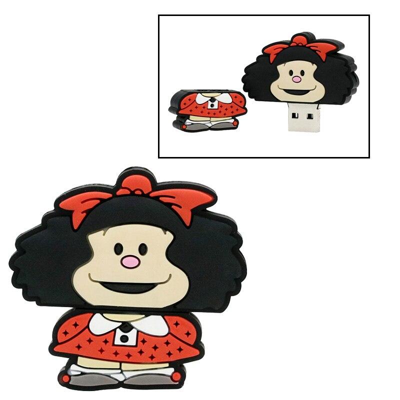 Lindo orangután USB Flash Drive Mafalda USB 2,0 Pen Drive 128GB Usb Pendrive Flash de 64GB Tarjeta de 32GB de memoria Flash disco