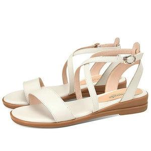 Hot Slae New Shoes Woman Buckle Genuine Leather Shoes Women Casual Wedges Shoes Women Casual Sandals Women Big Size