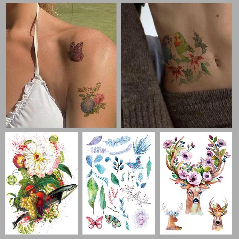 Watercolor AntlersWolf Fox Totem Tiger Waterproof Temporary Tattoo Sticker Geometric Triangle Flash Tattoos Body Art Fake Tatoo