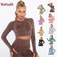 wohuadi 2021 seamless long sleeve t shirt gym sports yoga women shirts fitness crop top sport wear workout fitness clothes tight