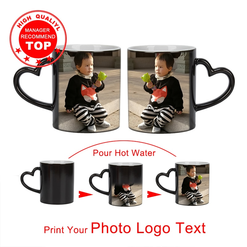 Drop shipping DIY Photo Magic Color Changing Mug,custom your photo on Tea cup,unique Ceramic Coffee Cup best gift for friends