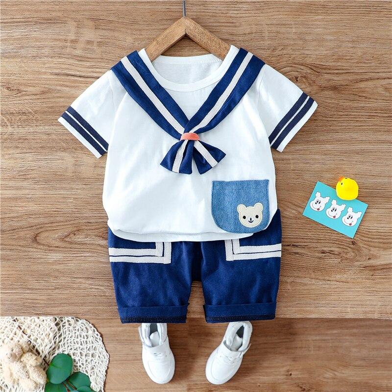 Hylkidhuose 2020 夏のベビー服は、幼児半袖カジュアルtシャツショーツ海軍スタイルの子供休暇服