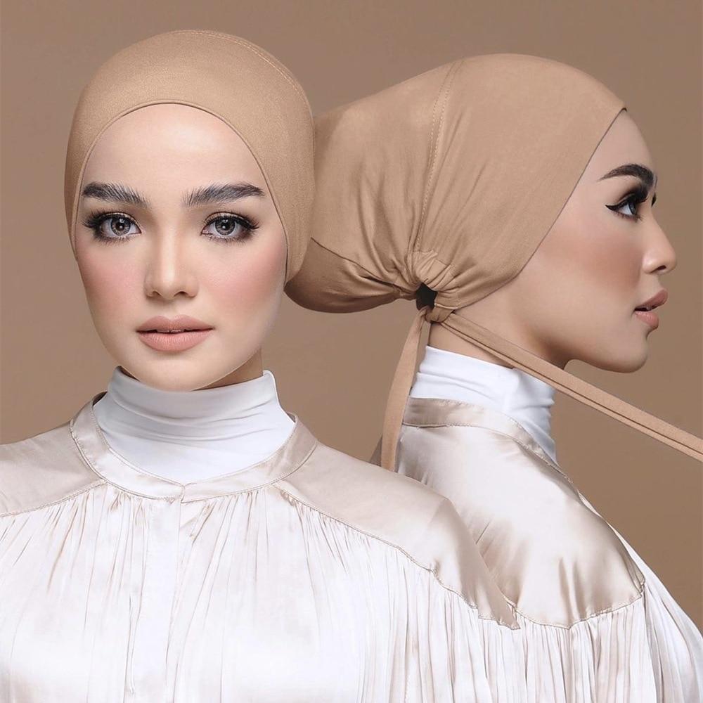 aliexpress.com - 2021 Soft Modal Adjustable Underscarf Cap Cotton Muslim Inner Hijab Stretchy Headscarf Bonnet Islam Under Hijab Femme Head Wraps