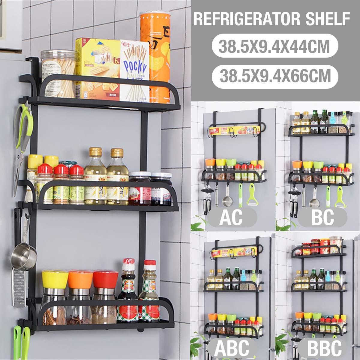 رف تخزين جانبي للثلاجة من الفولاذ المقاوم للصدأ ، سميك ، 3 مستويات ، منظم توابل ، متعدد الأغراض