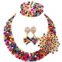 new fashion black womens mixed multicolor crystal bead nigerian african wedding jewelry bead set abd179