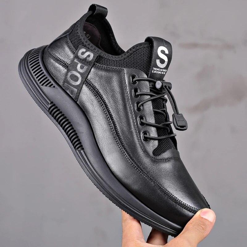 Rendas até Sapatos de Negócios ao ar Livre para Homem Homens Casual Shuoes Couro Plutônio Preto Primavera Masculino Calçados Mocassins Fundo Macio