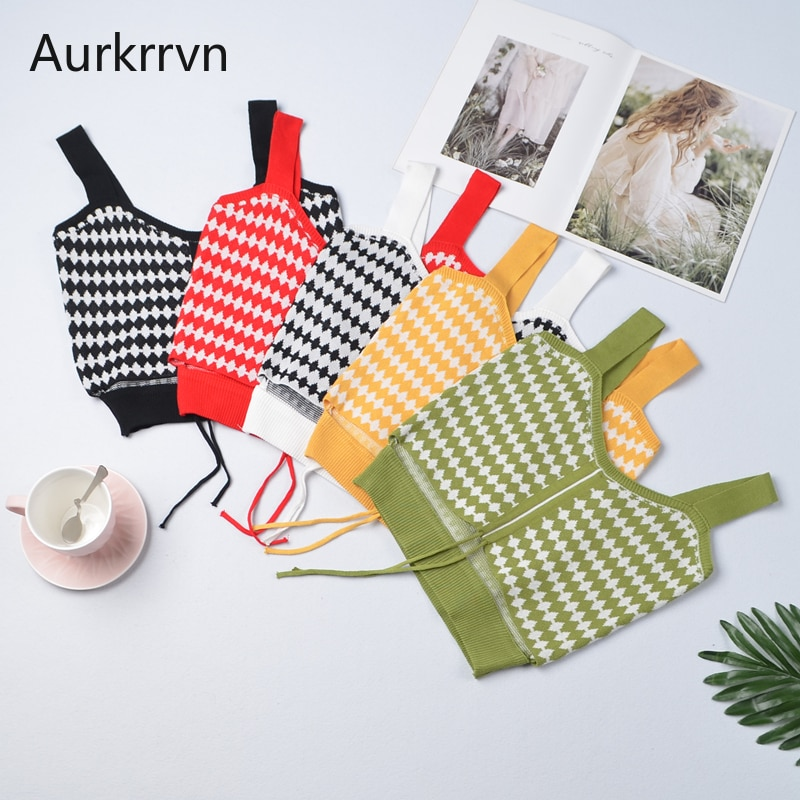 Aurkrrvn Female Plaid Camisole Summer Drawstring Crop Tops for Women Vintage V Neck Feminino Camis Fitted Causual 2020