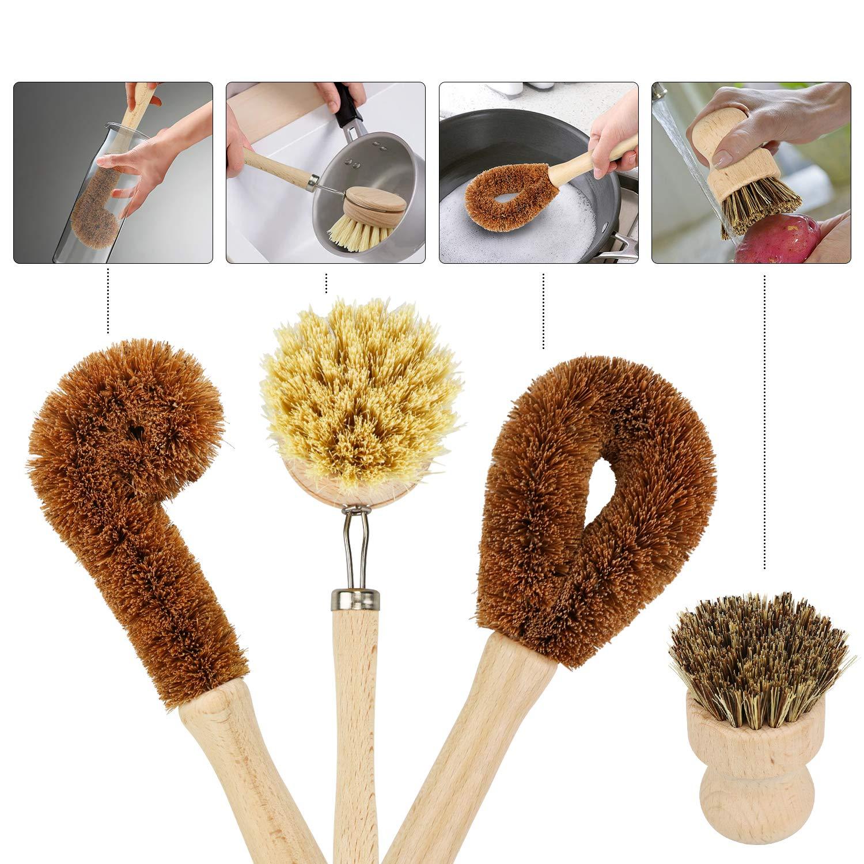 Kitchen Dish Cleaning Household  Handle Cleaning Brush Dish Washing Brush Set Kitchen  Clean Tools Plant Coconut Fibre Wood 4Pcs