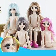 28cm BJD poupée accessoires 3D yeux longs cils avec 21 articulations corps longue perruque femme nue poupées jouet pour filles tête