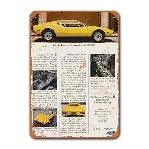 Оловянные автомобильные знаки 1971 de Tomaso Pantera, винтажный металлический постер для бара, паба, гаража, игровой комнаты, кофейного клуба, настенн...