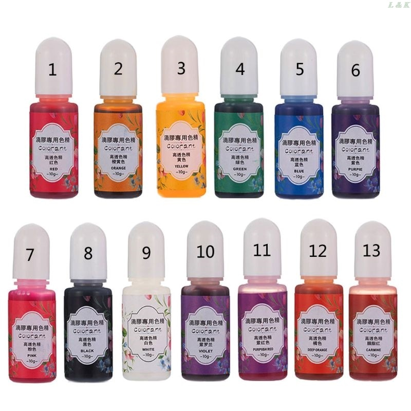 13 cores cola epoxy uv resina coloração tintura líquido cola epoxy pigmento resina corante desvanecimento resistance10ml translúcido pxpc