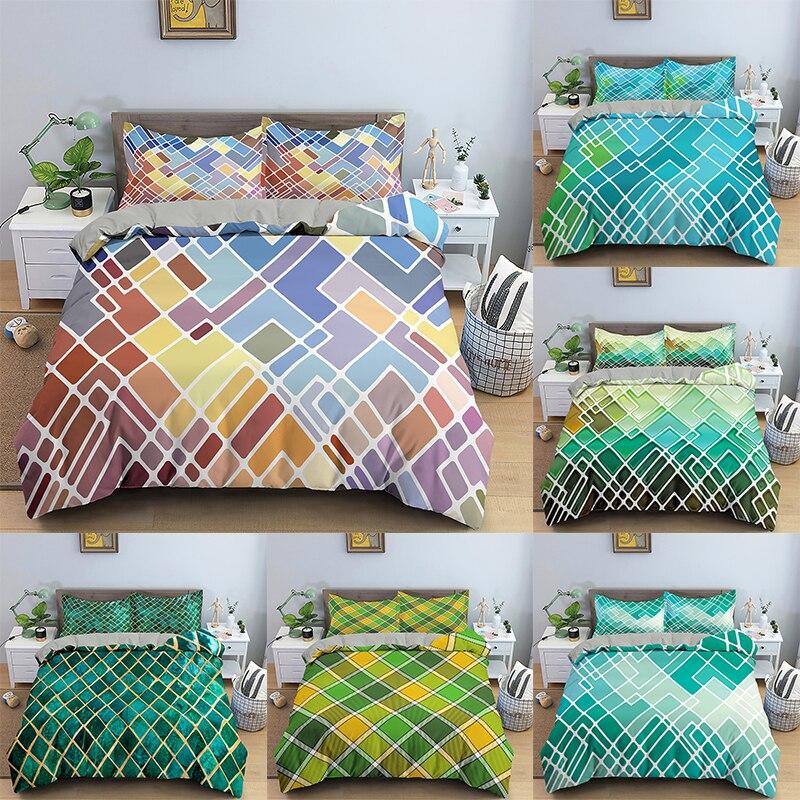 الهندسة نمط طقم سرير ثلاثية الأبعاد الطباعة حاف الغطاء غطاء لحاف الملكة الملك المخدة مجموعة المنسوجات المنزلية