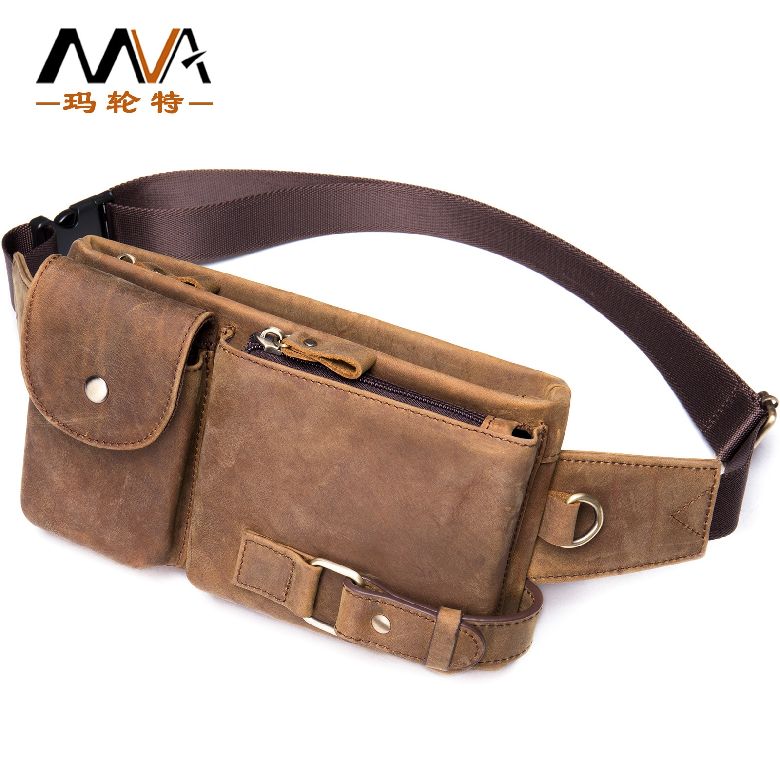 Waist Packs For Man Genuine Leather 2021 New Male Casual Vintage Fashion Mobile Travel Waist Pack Bags