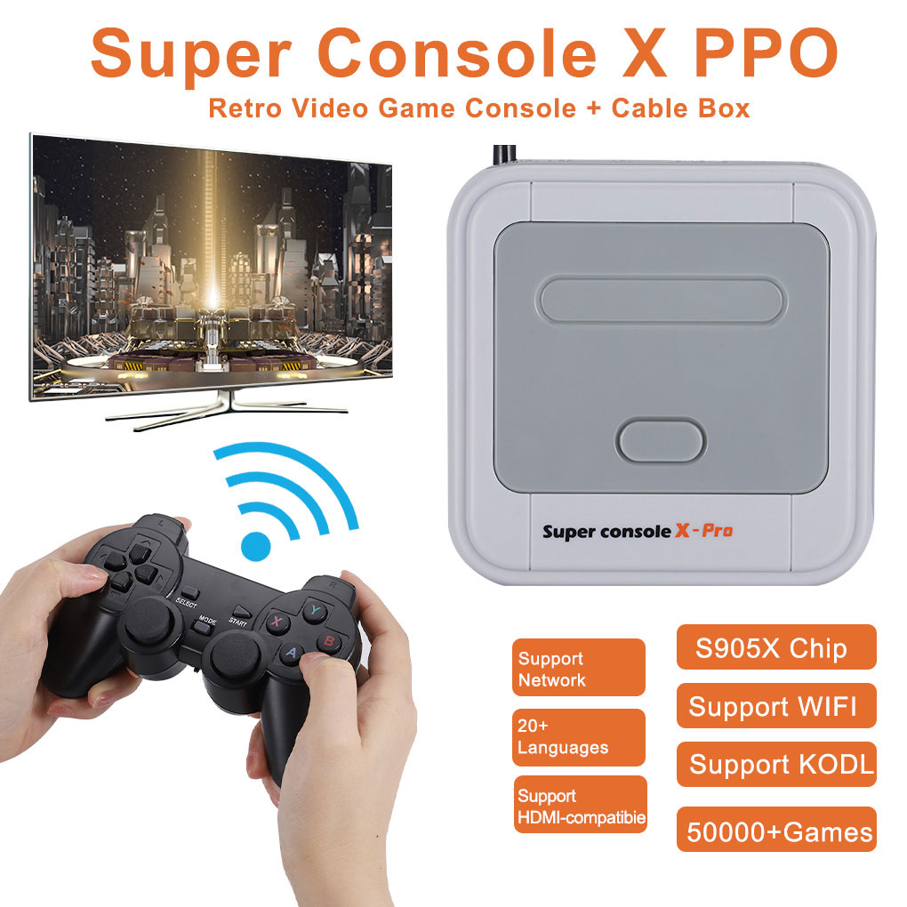 HD 4K TV لعبة فيديو سوبر وحدة التحكم X-برو ل PS1/N64/تيار مستمر 50 + محاكي 50000 + ألعاب 256GB S905X وحدة المعالجة المركزية لعبة لاعب