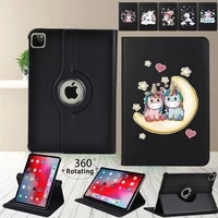 for apple ipad pro 9 7pro 10 5pro 11 2018 2020 tablet case 360 degree rotating unicorn leather stand cover case stylus