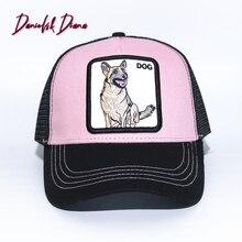 Crier chien à la main Animal exquis broderie casquette de Baseball Anime mignon broderie été maille hommes parasol chapeaux