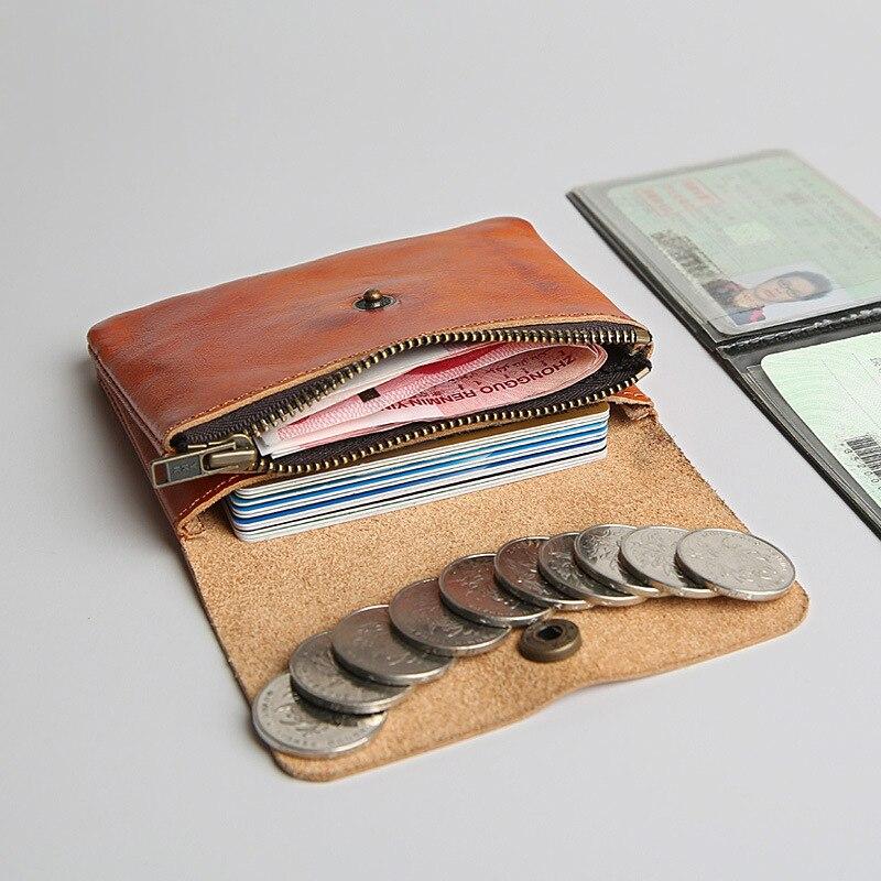يدوية ريترو الرجال محفظة جلدية قصيرة جلد محفظة الرجال و المرأة المحفظة التغيير البسيطة عملة حامل