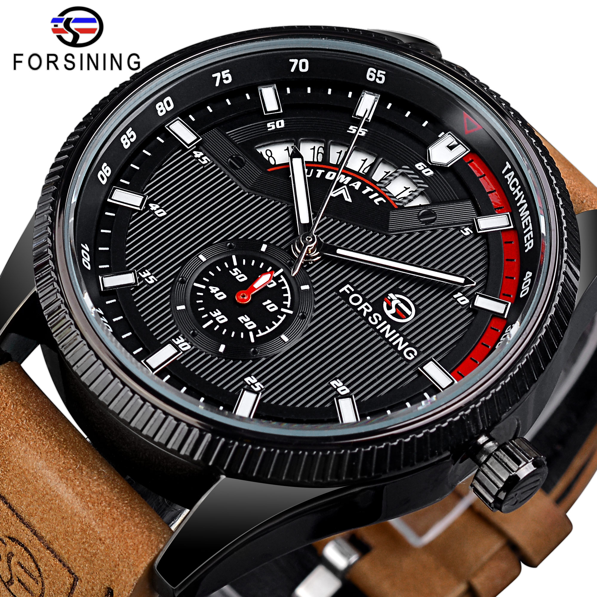 forsining luxury brand men vintage automatic watches male fashion auto date mechanical wristwatches rome dial real leather band Forsining Date Men Automatic Watches Sport Style Men's Mechanical Wristwatch Luxury Military Leather Wrist Watch Man Clock 3bar