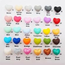 Chengkai 50 stücke Silikon Herz Beißring Perlen DIY Baby Dusche Schnuller Zahnen Schmuck Spielzeug Zubehör Kauen Machen Bead