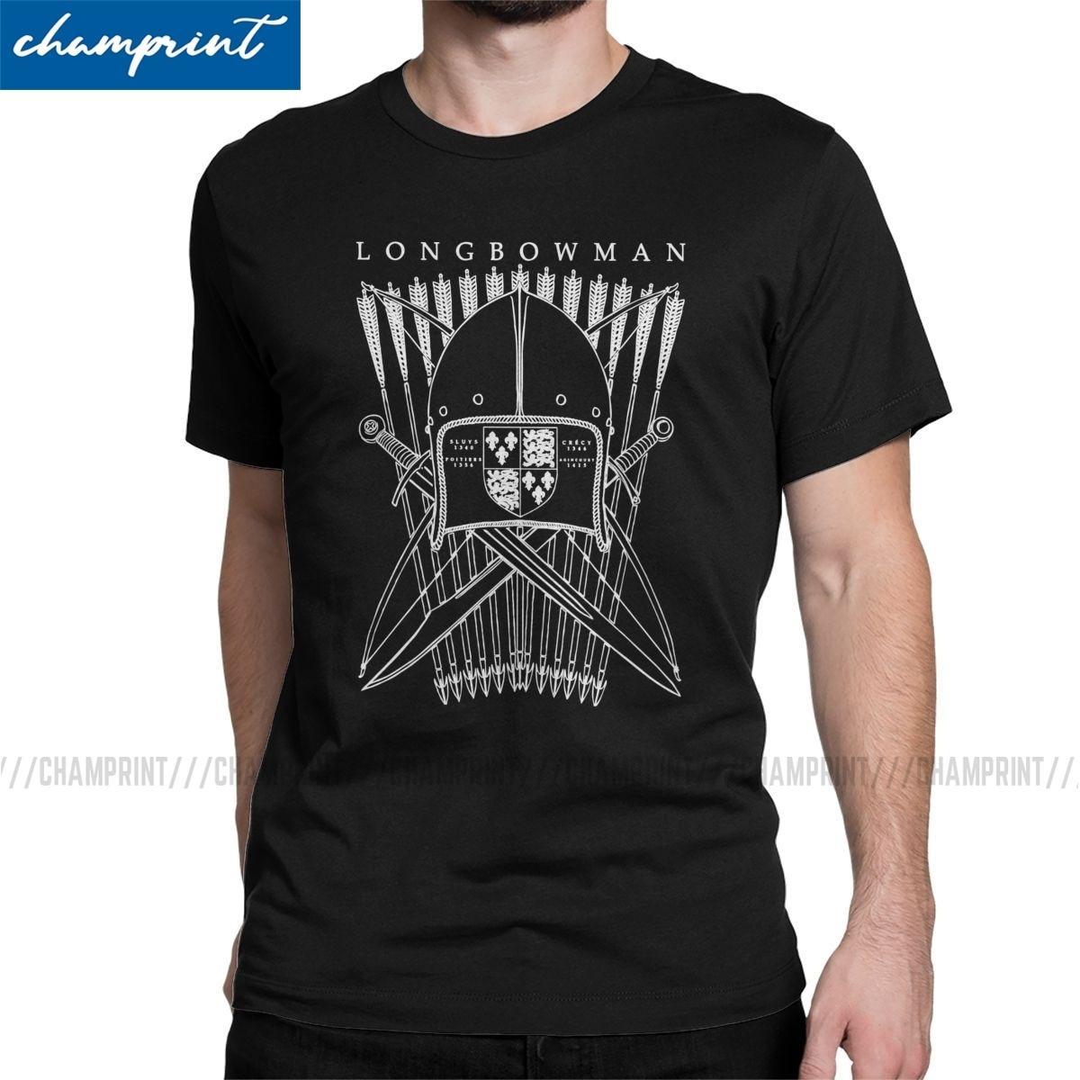 Camiseta con diseño de Longbowman para hombre, camisetas de manga corta de arquería arco flecha Archer Deportes de caza Crazy, ropa clásica