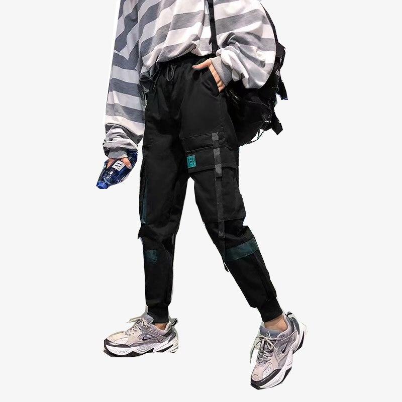 Модные уличные женские штаны Карго, черные, длина по щиколотку, эластичная резинка на талии, джоггеры, женские свободные брюки, повседневные...