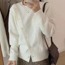 2021 New Women Sweater Single Breasted Split Fork Round Neck Long Sleeve Warm Autumn Winter Fashion