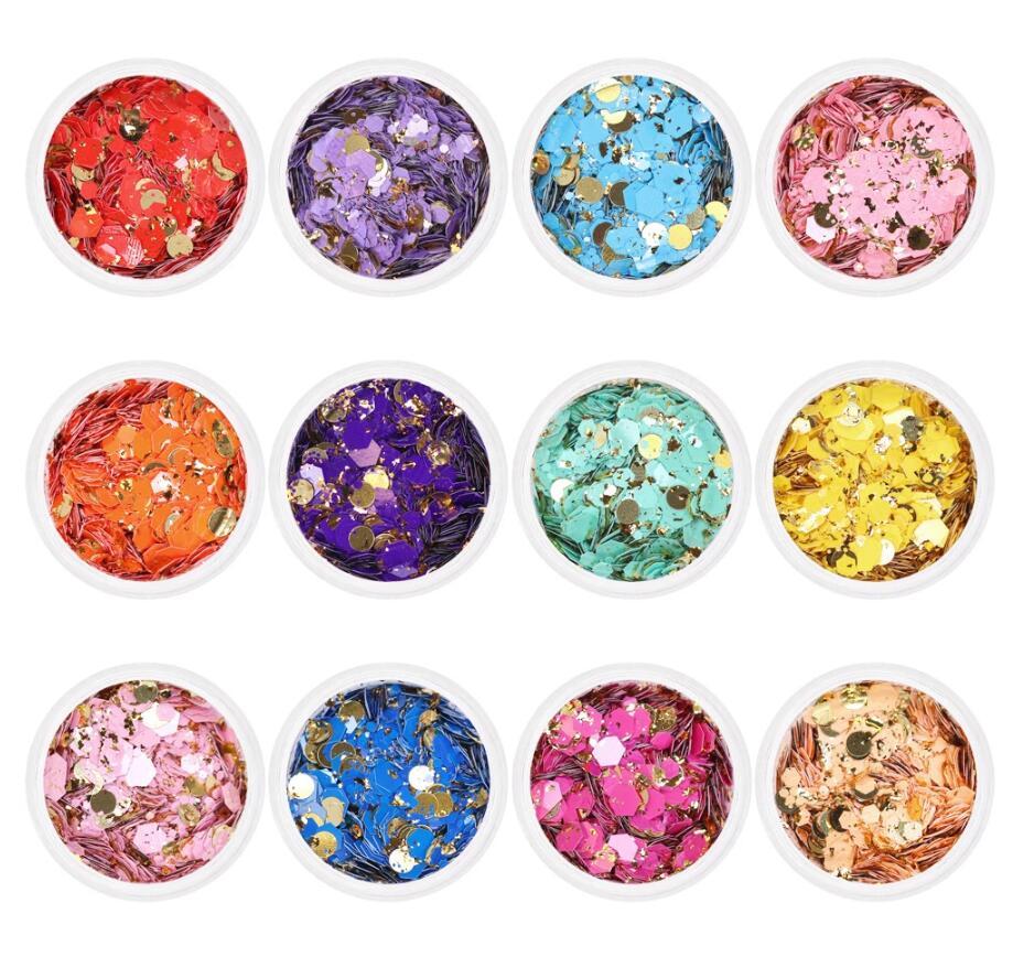 Vaso de purpurina grueso en 12 colores, 50 g/bolsa, mezcla de purpurina hexagonal, purpurina de lentejuelas para decoración DIY de uñas, funda para teléfono