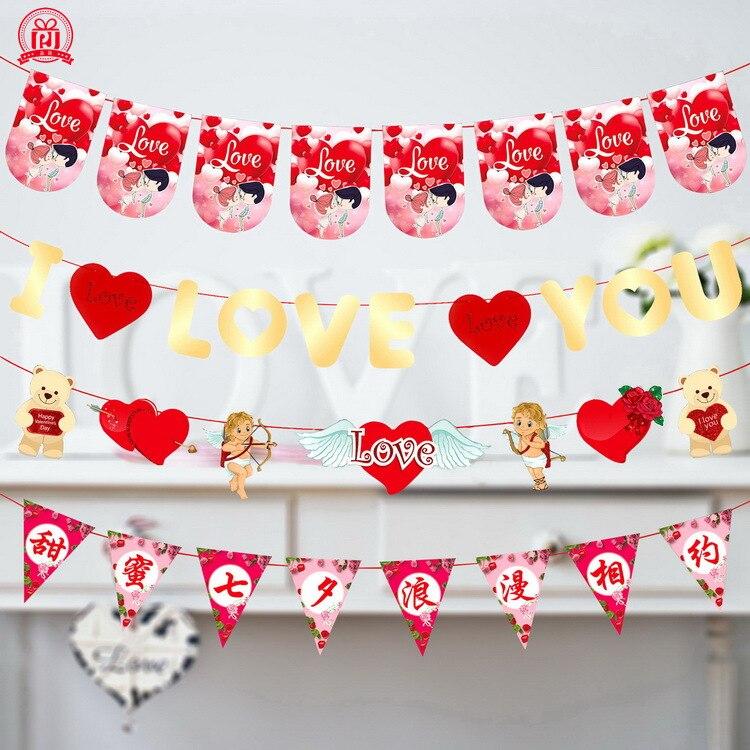 Romántico Día de los Enamorados Día de San Valentín bandera colgante Latte Arte Centro Comercial Hotel decorativo decoraciones festivas Banner Whol