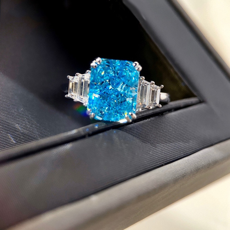 Luxury Minimalism Jewelry Square Dazzling Blue Moissanite Eternity Wedding Ring For Women Bride 100% 925 Sterling Silver Rings