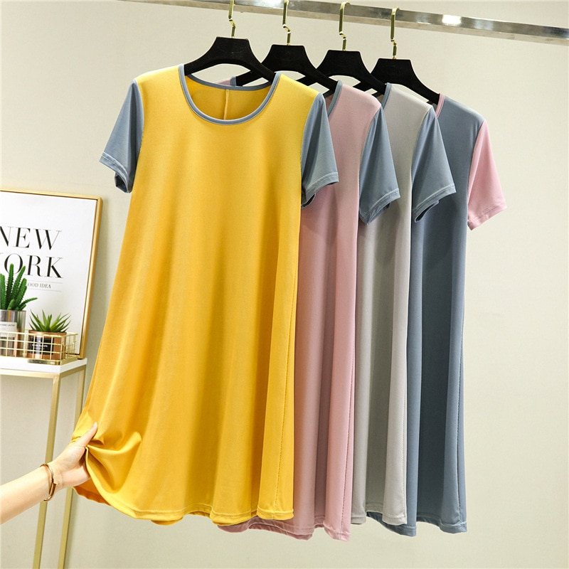 Summer Night Dress Women Short Sleeve Nightshirt Modal Patchwork Sleepwear Nightgown Loose Thin Sleeping Female Nightwear
