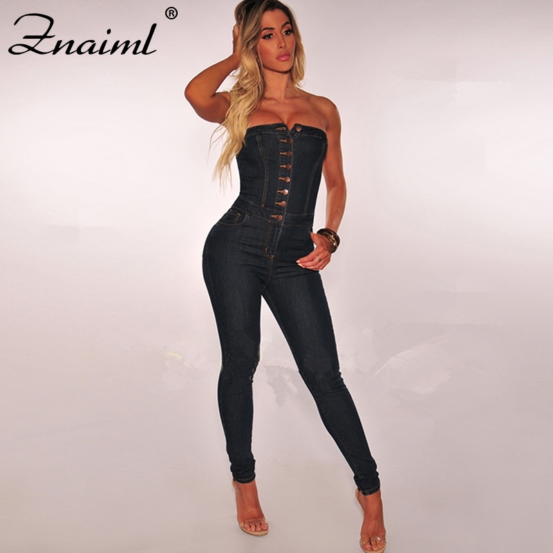 Znaiml Strapless Straps Single Buttons Sexy Denim Jumpsuit Women Rompers Pocket Bodycon Summer Jeans Overalls Casual Street Wear trendy strapless denim jumpsuit for women