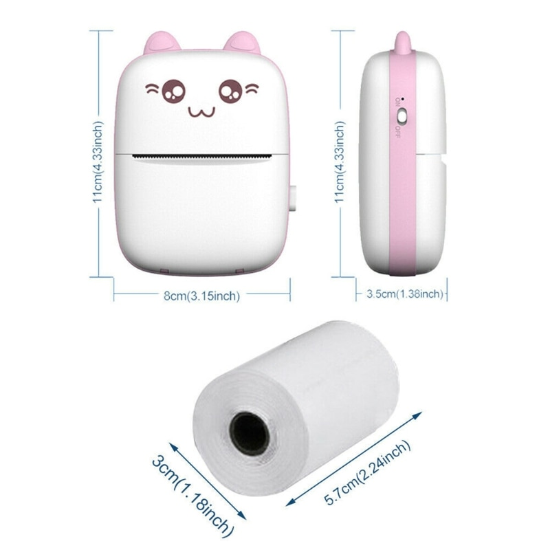 Mini Portable For Mobile Phone Wireless Bluetooth Thermal Printer Photo Label Printer Paper Printed Sheet Retailsale