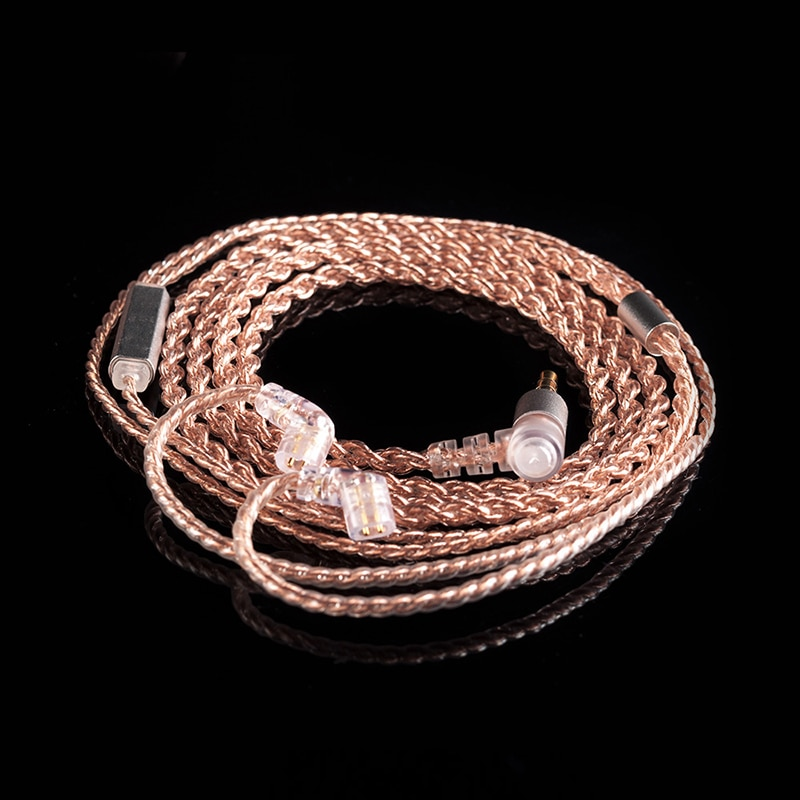 Kbear 4 núcleo cabo de cobre com microfone metal 2pin qdc 3.5mm conector fio fones de ouvido cabo para zs10 pro zsn as16 zsn as10