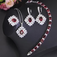 funmode red cubic zircon flower shape link chain small jewelry sets for women bridal set collares para mujer wholesale fs125