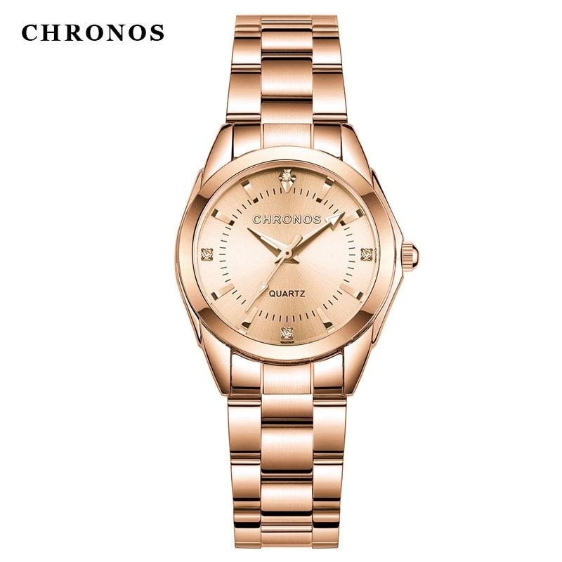 Reloj Cronos dorado para mujer, relojes creativos de acero para mujer, relojes de pulsera para mujer, reloj femenino, reloj femenino