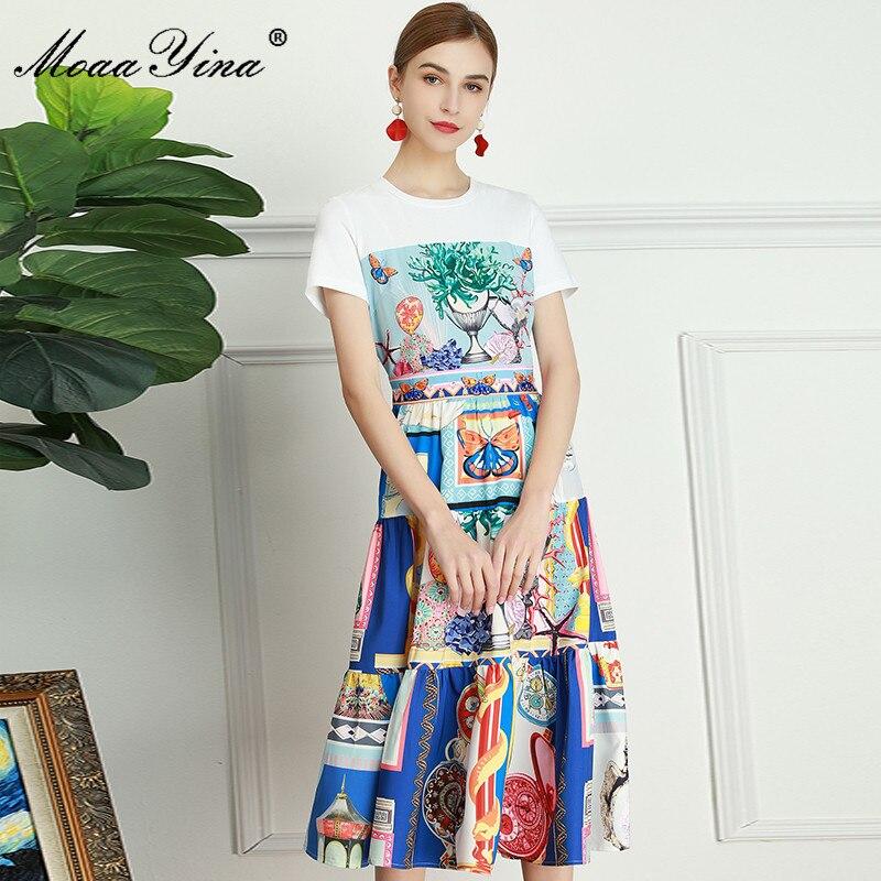 فستان نسائي صيفي لمصمم أزياء من موايننا, فستان نسائي صيفي بتصميم عصري بأكمام قصيرة وطبعة تجريدية مناسب للعطلات